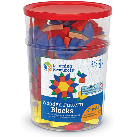 Learning Resources Wooden Pattern Blocks Set, 1 Cm (Set of 250)