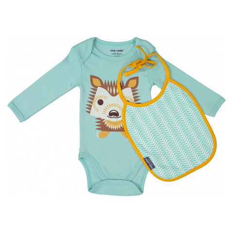Coq En Pate Long Sleeves Hedgehog Bodysuit & Bib Set in Box