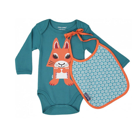 Coq En Pate Long Sleeves Squirrel Bodysuit & Bib Set in Box
