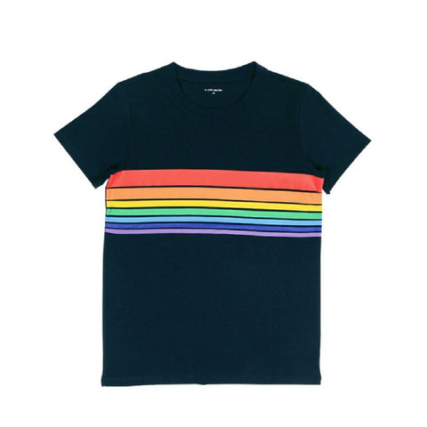 Le Petit Society Adult Rainbow Tee in Dark Navy (Unisex)