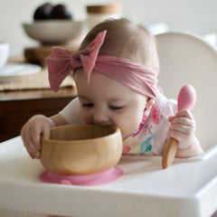 Avanchy Baby Bamboo Stay-Put Suction Bowl + Spoon
