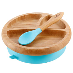Avanchy Baby Bamboo Stay-Put Suction Plate + Spoon