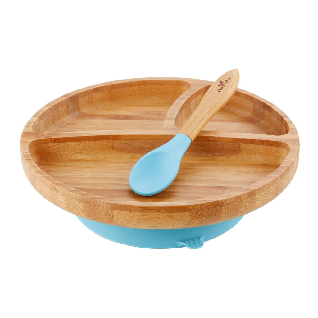 Avanchy Toddler Bamboo Stay-Put Suction Plate + Spoon