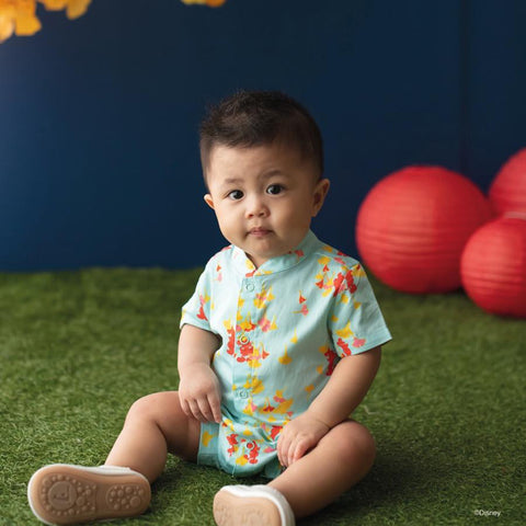 Elly Belle Mandarin-Collared Romper - Blue Gingko Mickey