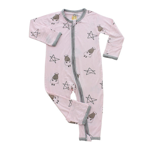 Baa Baa Sheepz Romper Zip Big Star & Sheepz Pink with Grey Border