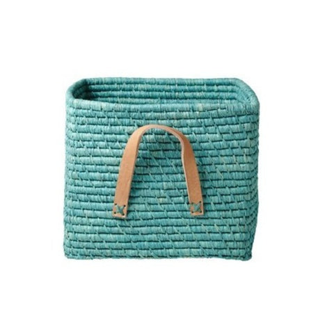Rice Square Basket Leather Handles