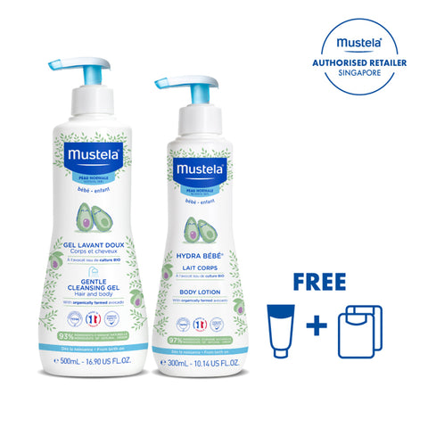 Mustela Gentle Cleansing Gel for Hair & Body + Mustela Hydra Bebe Body Lotion