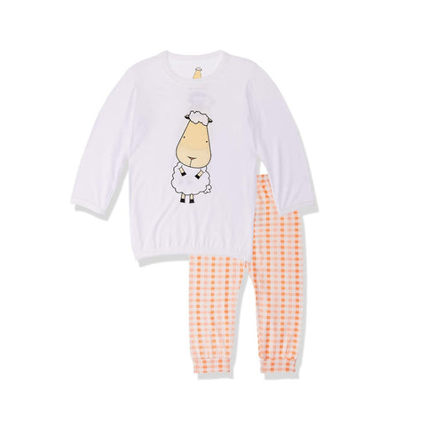 Baa Baa Sheepz Pyjama Set Front Back Sheepz White + Checkers Orange