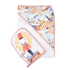 Weegoamigo Mitt Washer + Hooded Towel - Circus