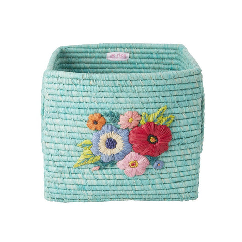 Rice Square Raffia Basket with Flower