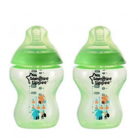 Tommee Tippee Closer To Nature Tinted Bottle 260ml / 9oz Lime Green Twin Pack