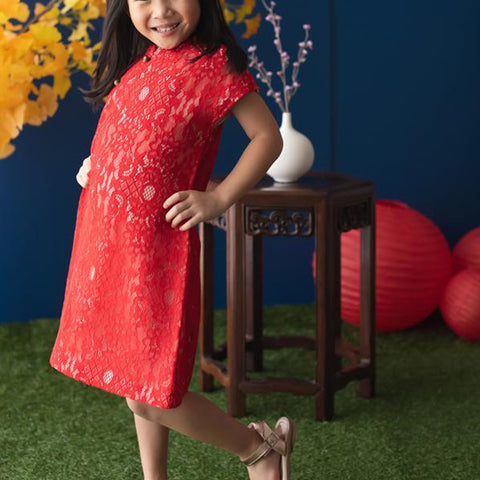 Elly Belle Cheongsam - Red / Pink Lace