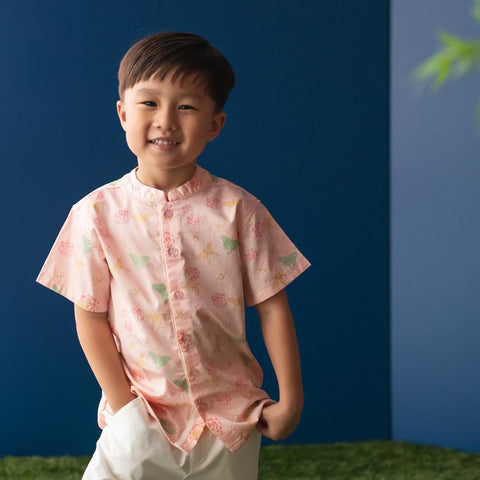 Elly Belle Mandarin-Collared Shirt - Pink Butterfly Kites