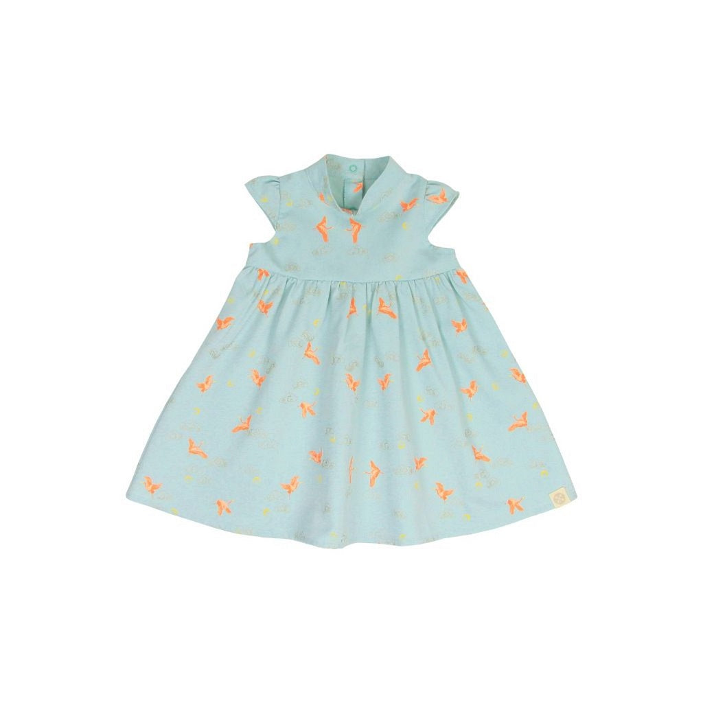 Le Petit Society Crane Series - Girls Dress In Sky Blue