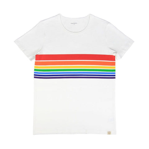 Le Petit Society Adult Rainbow Tee in White (Unisex)
