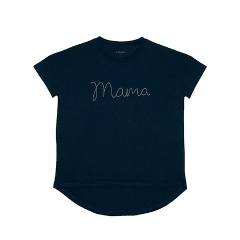 Le Petit Society Mama Tee in Navy