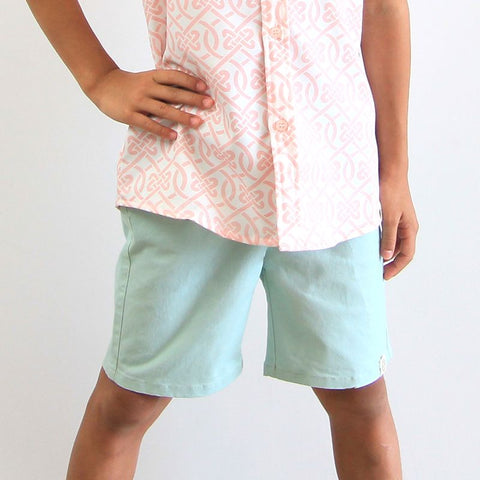 Le Petit Society Chinese Knots Series - Boys Light Blue Bermuda
