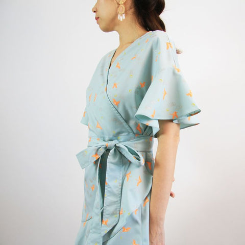 Le Petit Society Crane Series - Ladies Wrap Dress In Sky Blue