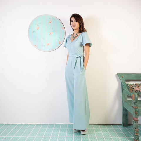 Le Petit Society Cherry Blossom Series - Ladies Butterfly Sleeves Jumpsuit In Blue