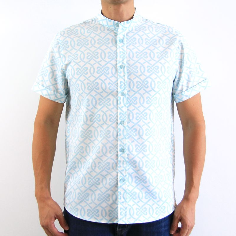 Le Petit Society Chinese Knots Series - Men's Shirt In Blue