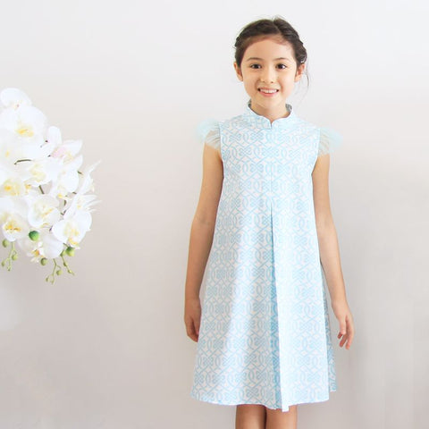 Le Petit Society Chinese Knots Series - Girls Dress In Blue