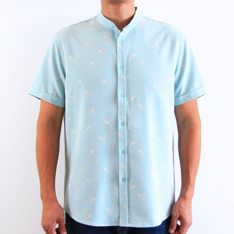 Le Petit Society Cherry Blossom Series - Men's Blue Shirt With Leave