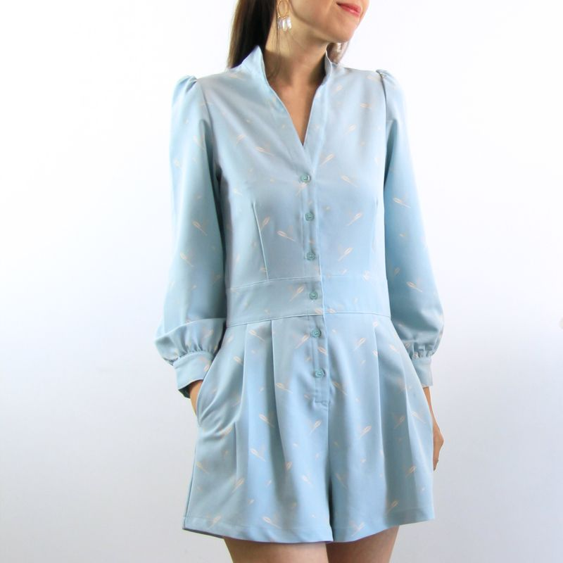 Le Petit Society Cherry Blossom Series - Ladies Long Sleeves Romper In Blue