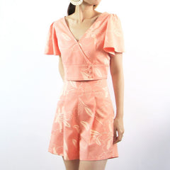 Le Petit Society Cherry Blossom Series - Ladies Wrap Top In Peach