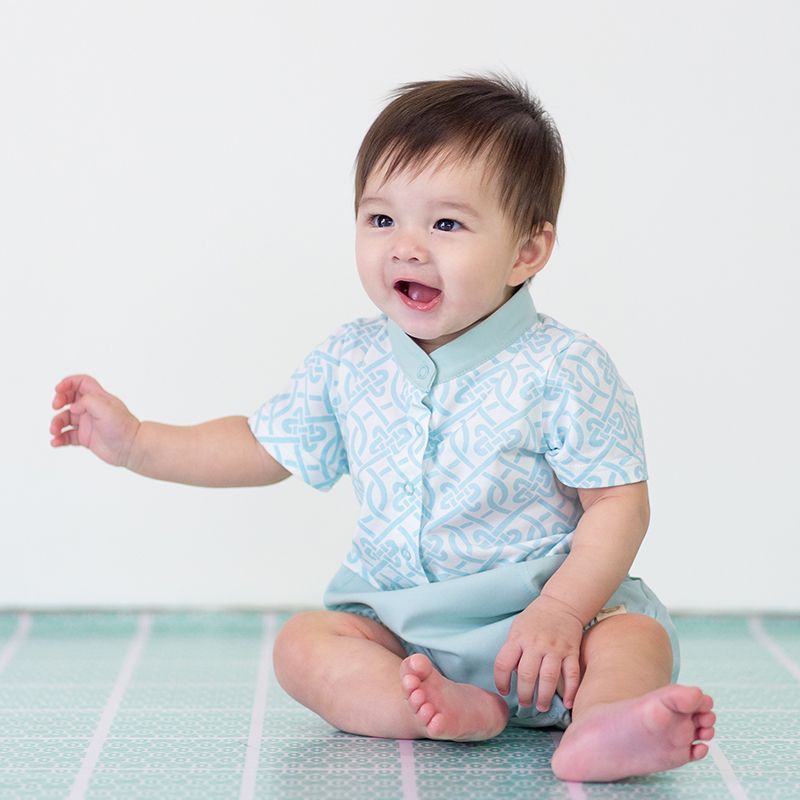 Le Petit Society Chinese Knots Series - Baby Boy Shirt Romper