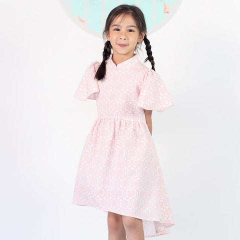 Le Petit Society Chinese Knots Series - Girls High-Low Dress In Pink