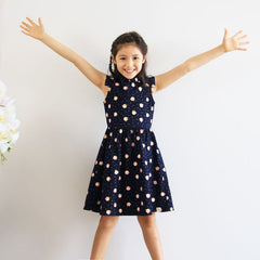 Le Petit Society Lion Dance Series - Girls Dress In Navy
