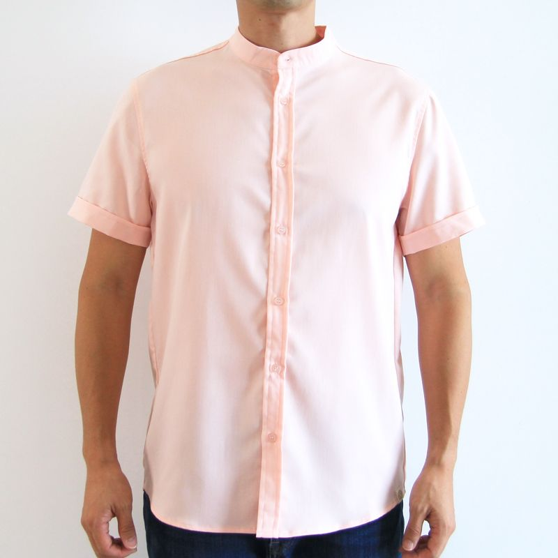 Le Petit Society Mandarin Orange Series - Men's Plain Shirt In Pink
