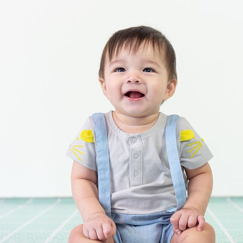 Le Petit Society Mouse Series - Baby Boy Chambray Suspender Romper