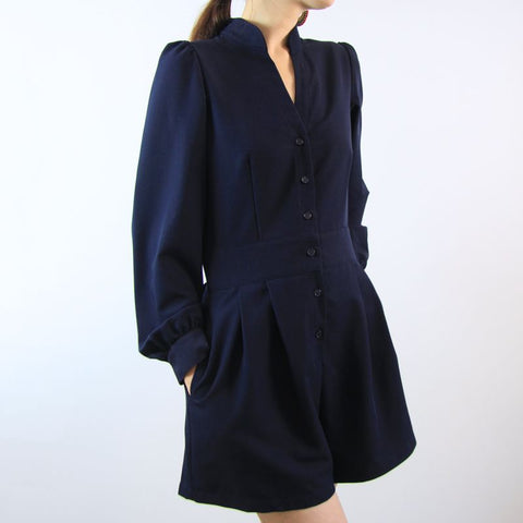 Le Petit Society Crane Series - Ladies Long Sleeves Romper In Navy