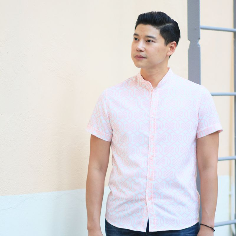 Le Petit Society Chinese Knots Series - Men's Shirt In Pink