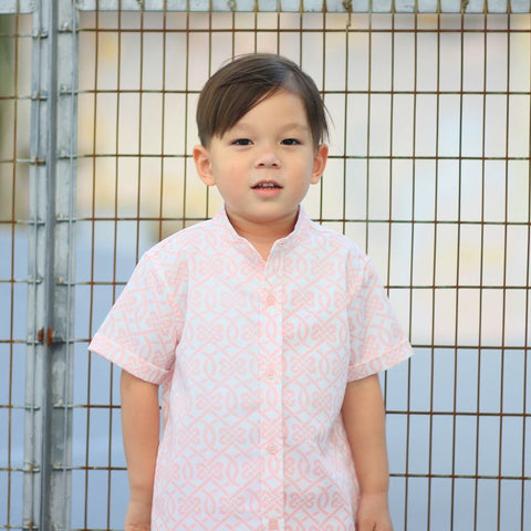 Le Petit Society Chinese Knots Series - Boys Shirt In Pink