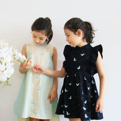 Le Petit Society Crane Series - Girls Ruffles Dress In Navy
