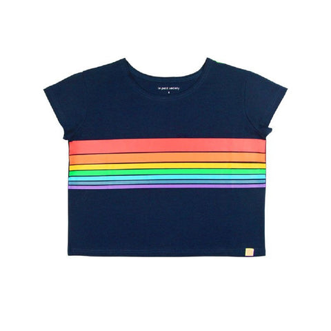 Le Petit Society Adult Ladies' Rainbow Crop Tee in Dark Navy