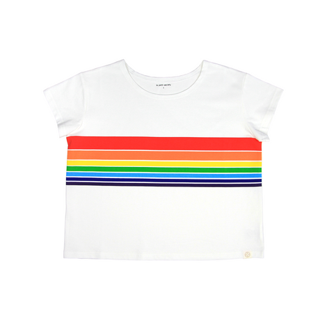 Le Petit Society Adult Ladies' Rainbow Crop Tee in White