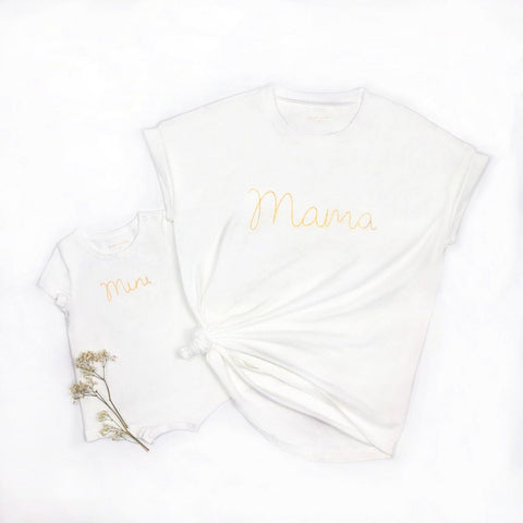 Le Petit Society Mama Tee in White/Gold