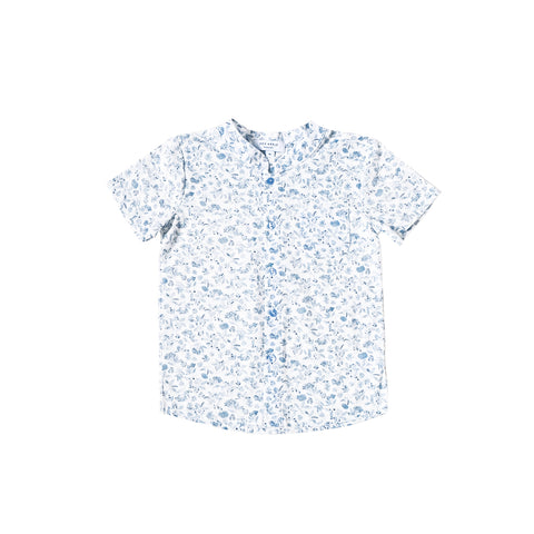 Sea Apple Blue Porcelain Mandarin Shirt