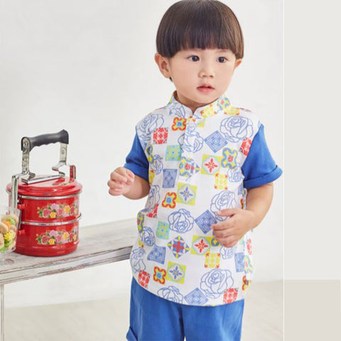 Oeteo Peranakan Layered Polo Shirt Set - Blue