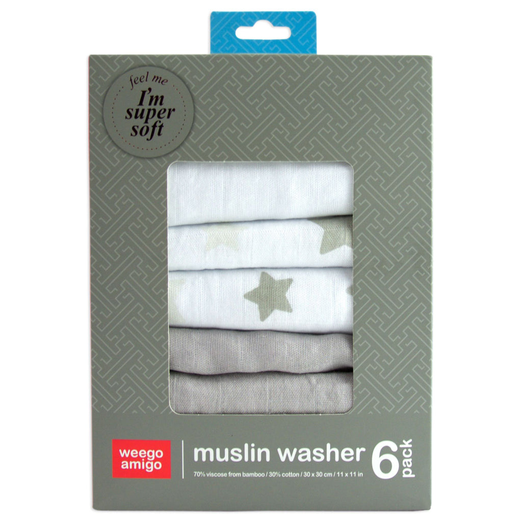 Weegoamigo Bamboo Grey Mini Muslin 6 Pack