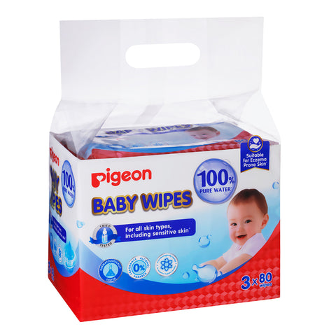 Pigeon 100% Water Wipes 3 x 80s