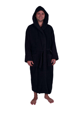 Puffy Cotton Unisex Heavy Adult Hoodie Bathrobe 100% Natural Soft Cotton Bathrobes Puffy Cotton Black XL