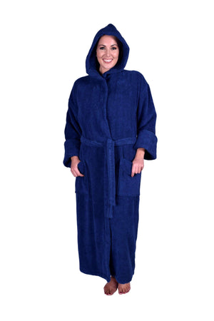 Puffy Cotton Unisex Heavy Adult Hoodie Bathrobe 100% Natural Soft Cotton Bathrobes Puffy Cotton Navy Blue XL