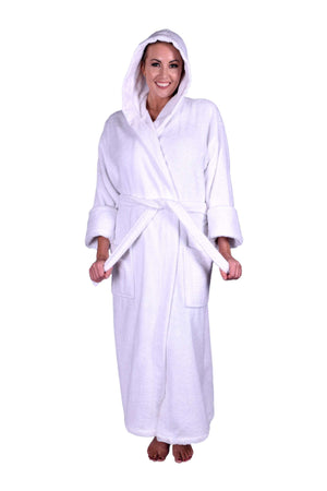 Puffy Cotton Unisex Heavy Adult Hoodie Bathrobe 100% Natural Soft Cotton Bathrobes Puffy Cotton White XL