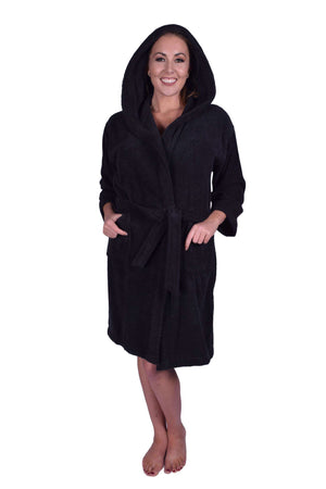 Puffy Cotton Teen / Petite Unisex Hoodie Bathrobe 100% Natural Soft Cotton Bathrobes Puffy Cotton Black L
