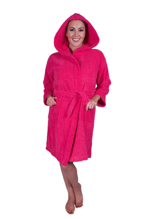 Puffy Cotton Teen / Petite Unisex Hoodie Bathrobe 100% Natural Soft Cotton Bathrobes Puffy Cotton Hot Pink L
