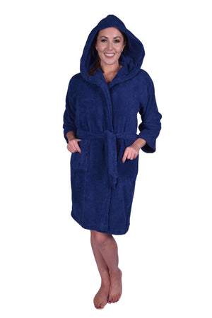 Puffy Cotton Teen / Petite Unisex Hoodie Bathrobe 100% Natural Soft Cotton Bathrobes Puffy Cotton Navy Blue L
